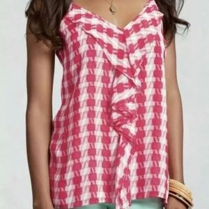 CAbi Ruffle Pink and White Houndstooth Cami